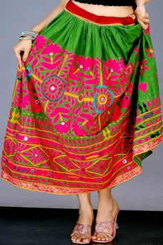 Antique Kutch Embroidered Skirt with Mirrors