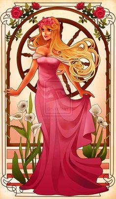 Disney Princesses in Mucha Style Pin-up Art « Randommization