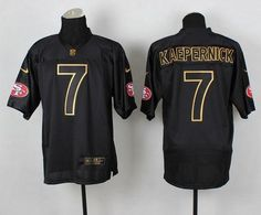 079665930 Nike  49ers  7 Colin  Kaepernick Black Gold No. Fashion  Men s Stitched