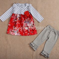 Adorable Kids Spring Boutique Outfits Gray Twill Floral Red Shirt Pants Set Baby Girls Toddler Clothing