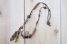 boho tribal beaded necklace  brass bell  boho by redstitchlab