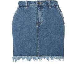 Dorothy Perkins **First & I Frayed Hem Denim Mini Skirt (120 BRL) ❤ liked on Polyvore featuring skirts, mini skirts, blue, blue mini skirt, denim skirt, denim miniskirt, short denim skirts and dorothy perkins