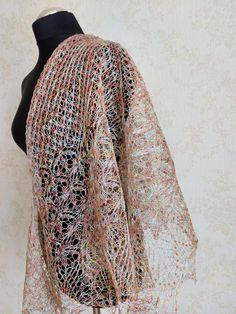 Light Rust Hand Knit Linen Shawl with Beads Natural Scarf Knitted Wrap Scarf Bridal Shawl, Wedding Shawl, Knit Wrap, Scarf Wrap, Body Warmer, Knitted Shawls, Lace Knitting, Handmade Shop, Womens Scarves