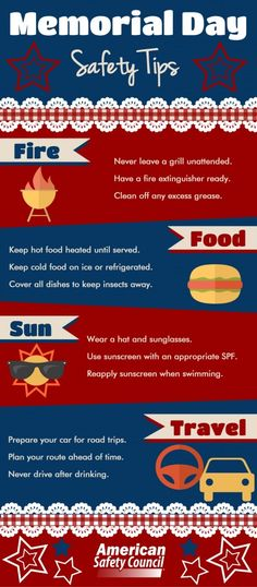 Memorial Day Safety Tips Infographic - Grilling, Picnic, Sun and Travel safety tips for a happy holiday weekend!