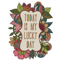 "Feeling lucky? This floral art and quote wall sticker decal will help remind you to look at the bright side of things even when you're not. ""Today is My Lucky Day"" from artist Valentina Harper brings to life her intricately penned illustration of flowers, leaves and text in pink, orange, green, brown, blue, beige and tan. This inspirational quote wall sticker is highly detailed floral art with a positive message. ""Today is My Lucky Day"" is available in 4 sizes: S-8.7""w x 11""h; M-11.6""w x…"