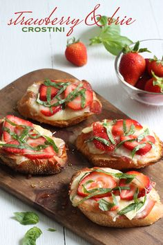 summertime appetizer - strawberry and basil brie crostini drizzled in honey. perfect appetizer for a baby or bridal shower brunch!
