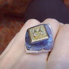 @alieljewellers  #diamond #diamondring cocktail ring oneofakind yellow diamond katerina perez.com