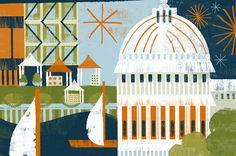Madison, Wisconsin, a city whose lofty earnestness inspired Michelle Wildgen's two novels. Illustration by Nina Goffi.