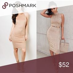 Suede bodycon dress Available in small medium and Large Dresses Midi
