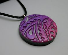 Mandarin Moon  Unique Pendant Necklace Polymer Clay in Purple Pink and