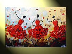 Bailarines de Resumen personalizados pintura vestido rojo