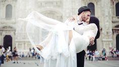 wedding, dress, the groom, hat, the bride, lovers