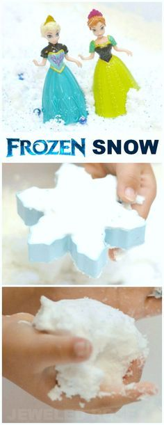 Make Your Own Frozen Snow {Recipe for Play} It's cold, squishy, mold-able, and magical; A must try recipe for kids who love the movie Frozen!: