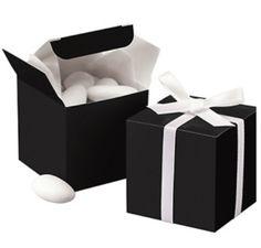 Box wedding favors| Chanel themed wedding ideas| Black and white wedding favors