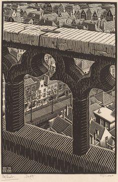 Escher, M. Dutch, 1898 - 1972 Oude Kerk 1939 woodcut Bool no. 318 Gift of Graham Nash Mc Escher Art, Escher Kunst, National Gallery Of Art, Delft, Illustrations, Illustration Art, Art Inuit, Art Nouveau, City Painting