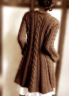 Hand-knit cable sweater in chocolate. Silhouette is a-line. Hand-knit cable sweater in chocolate. Silhouette is a-line. The post Hand-knit cable sweater in chocolate. Merino Wool Sweater, Sweater Coats, Cable Knit Sweaters, Brown Sweater, Sweater Jacket, Chunky Sweaters, Comfy Sweater, Blazer Jacket, Coat Patterns