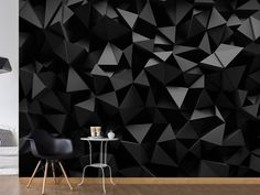 Black wallpapers with the 3D effect.. Perfect for an elegant living room #wallpaper #wallmural #blackwallpaper #homedecor #bimago #blackwallmural #walldecoration  #wallmurals #wallpapers