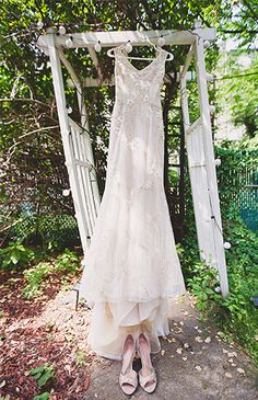 A beautiful dress shot at the wedding's garden ceremony
