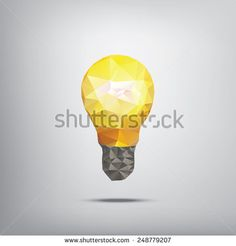 Colorful low polygonal light bulb concept symbol of creativity. Suitable for infographics, business presentations, analysis reports, brochures. Eps10 vector illustration