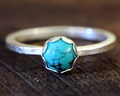 Turquoise 14k sterling silver ring