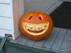Too cute lol  Pumpkin with braces