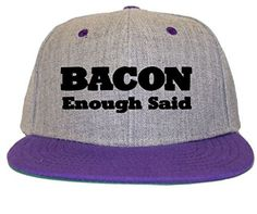 c3639bf34a290 Bacon Enough Said Flat Bill Snapback Hat Cap purple Monster Energy
