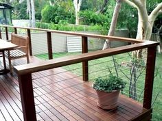 Installing a new deck or pergola? Why not use Treated Pine decking or Merbau Hardwood decking to spruce up the backyard in time for summer. Treated Pine timber and Merbau Hardwood, are both available in many sizes. Outdoor Handrail, Timber Handrail, Timber Deck, Deck Railings, Cable Deck Railing, Cool Deck, Diy Deck, Spotted Gum Decking, Deck Framing