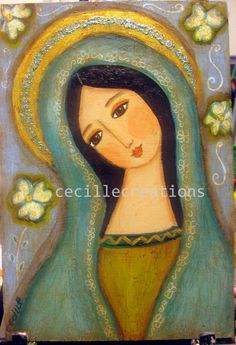 Happy Mother's Day Mary ! Virgin Mary, Grace and Compassion - original mixed media painting folk art style.