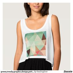 green,trendy,graphic,design,pattern,modern,chic,fu flowy crop tank top Tank Tops