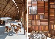 coffe shop, louvered facade from recycled wood.
