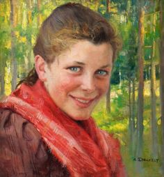 "Special painting. A Finnish renowned artist that I'm fond of, and surprisingly a good friend also told how alike I was this girl, especially her eyes. But I'm drawn to her happy smile and humbleness too | ""A Girl From Porvoo"" - ""A Farmer´s Daughter From Uusimaa"", Albert Edelfelt (1854-1905) Finland"