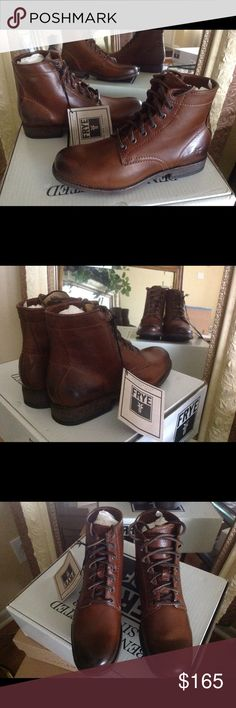 Frye Combat Boot Frye Tyler Women's Lace up Combat Boot.  Cognac Leather.  Frye Quality!  Brand new w/box.  No trades. Frye Shoes Combat & Moto Boots