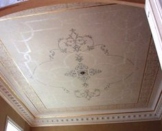 Ceiling gilded pattern and the addition of Swarovski crystals to the delicate design work. Modello designs.