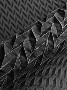 Origami Fabric with pleated chevron pattern & contrasting stitches for 3D texture; innovative textiles; fabric manipulation // Gebr