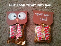 "End of year treat for students: ""Owl"" miss you! Miss You Gifts, Thank You Gifts, School Treats, School Gifts, Owl Miss You, Goodbye Gifts, Goodbye Party, Going Away Gifts, Friend Moving Away Gifts"