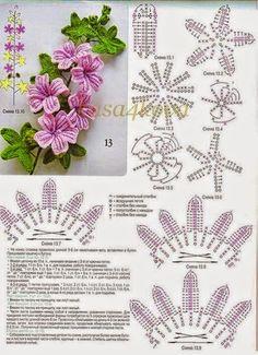 Rama florecida tejida al crochet con patrones