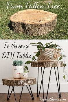 -Easy DIY live edge tables with hairpin legs. Step by step guide… Easy tree slice hairpin tables DIY. Need almost free tables that look beautiful? These beauties are for my daughter's Romantic Boho bedroom transformation… See it Diy Furniture Easy, Furniture Plans, Furniture Makeover, Upcycled Furniture, Furniture Design, Garden Furniture, Barbie Furniture, Bedroom Furniture, Homemade Furniture