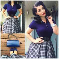 Yesterday's outfit details top from skirt from belt from bangles and belt are Vintage, shoes from and brooch from Look Rockabilly, Rockabilly Fashion, Retro Fashion, Vintage Fashion, Vintage Style, Vestidos Vintage, Vintage Dresses, Vintage Outfits, Fashion Moda
