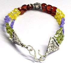 Party Wear Shining Multi Color Hydro Gemstone Beaded Solid Silver Chain Bracelet