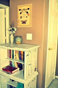 DIY recycled night stands into a book shelf and crackle paint!