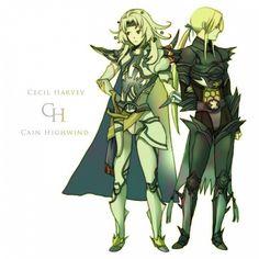 Tags: Anime, Fanart, Final Fantasy IV, Cecil Harvey, Kain Highwind