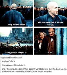 Voldemort<<< oh my gosh and I realized that if Voldemort was 71 when he died, slughorn must've been really old to be fighting. When Dumbledore was trying to get Slughorn to teach potions and he said he was too old, I didn't think that old.