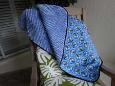 Baby boy faux chenille blanket I made for a neighbor