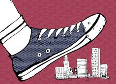 Stomp the Town children's book illustration.
