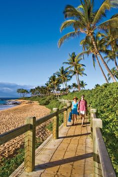 Where in Hawaii can a sunrise stroll take you past five white sand beaches, eight world-class resorts and, weather and season permitting, shoreline views of breaching humpback whales, sea turtles and four islands in just a mile and a half?    The answer is the Wailea Coastal Walk along Maui's famed, sun-kissed south shore resort area.    Via Hawaii Magazine ...