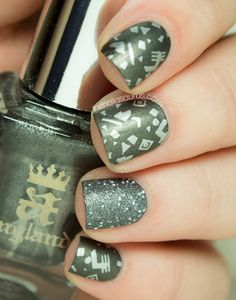 A-England, Back to the 80s 03, Glitter, Grey, MoYou, Sally Hansen, Silver, Snippet, Stamping