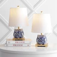 Lamp Sets | Find Great Lamps & Lamp Shades Deals Shopping at Overstock Ceramic Table Lamps, Table Lamp Sets, Leaf Table, Drum Shade, Inspired Homes, Home Decor Items, White Ceramics, Blue And White, Navy Blue