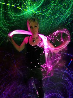 Fiber Optic Sparkle Whip Psychedelic toy and wrap by artchicinc, $110.00