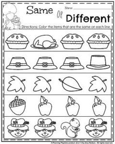 November Kindergarten Worksheets - Same or Different. It is Fall Kindergarten Worksheets time, and they are Turkeylicious! Thanksgiving Worksheets, Thanksgiving Preschool, Fall Preschool, Preschool Lessons, Preschool Classroom, Preschool Learning, Preschool Activities, Thanksgiving Pictures, Preschool Printables
