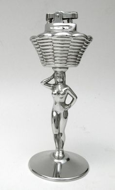 Vintage Art Deco Chrome Naked Nude Lady Table Cigarette Lighter Erotic Risque | eBay